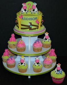 Love the girly barn animal cake and cupcakes