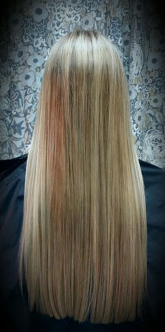 Babylights on long layer less hair by Shana Montgomery owner of Fringe Theory Salon.
