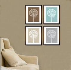 "Bubble Tree Inspirational Set (4) 8"" x 10"" // Brown, Mute Blue, Tan and Grey // Modern  Home Decor Wall Art"