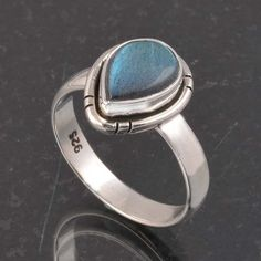 BLUE FIRE LABRADORITE 925 SOLID STERLING SILVER FASHION RING 4.34g DJR6361 #Handmade #Ring