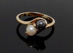 Vintage Uncas Double Pearl Ring Sterling Silver Tahitian White Pearls Size 6.5