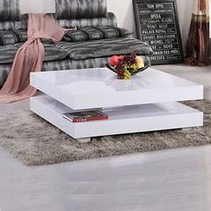 Modern High Gloss White Square Coffee Table With 2 Layers And Storage