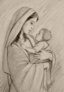 Mère Marie in mary and jesus drawing collection - ClipartXtras Girl Drawing Sketches, Girly Drawings, Art Drawings Sketches Simple, Pencil Art Drawings, Mother And Child Drawing, Mother Art, Catholic Art, Religious Art, Jesus Sketch
