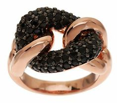 Bronzo Italia 1.50 ct tw Black Spinel Curb Link Ring QVC.com