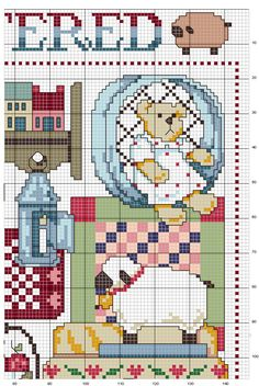 Cross-stitch Cluttered - Country, part 3 ... no color chart available, just use pattern chart as your color guide.. or choose your own colors...  Schema punto croce Quadro Country 3