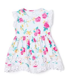 Love this Pink & White Floral Lace-Accent Dress - Toddler & Girls on #zulily! #zulilyfinds