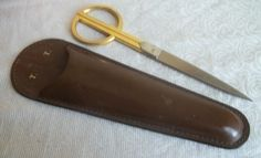 Vtg Gold Plated Sewing Shears Scissors UCH Italy Bosca Heirloom Leather Case