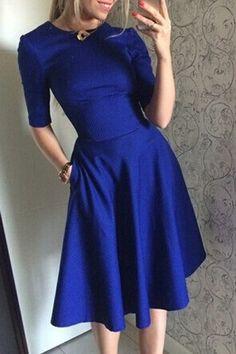 /Solid Color Slimming Half Sleeve Dress BLUE: Dresses 2015 | ZAFUL