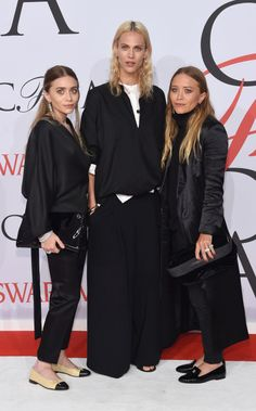 Ashley Olsen, Aymeline Valade, and Mary-Kate Olsen in the Row at the 2015 CFDA Fashion Awards. See all the looks from the night.