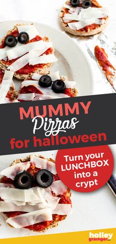 These spooky mini mummy pizzas are so easy to make that even little ones can create their own yummy mummies. Great for Halloween themed lunchboxes and meals. Healthy Diet Recipes, Healthy Meals For Kids, Dinners For Kids, Kids Meals, Delicious Recipes, Healthy Food, English Muffin Pizza, Whole Wheat English Muffin, Easy Halloween Snacks