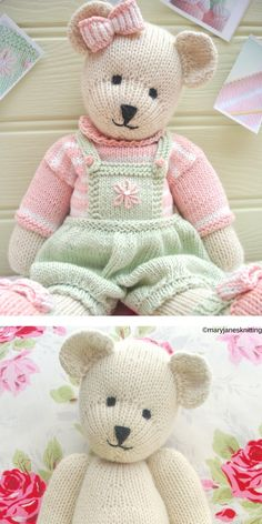 Every child loves teddy bears, don't they? Charming Teddy Bears are cute, soft and made to cuddle, so they're perfect friends for your baby. Take a yarn, Knitting Bear, Teddy Bear Knitting Pattern, Knitted Teddy Bear, Crochet Bear, Free Knitting, Knitting Toys, Teddy Bear Patterns Free, Knitting Dolls Free Patterns, Knitted Dolls Free