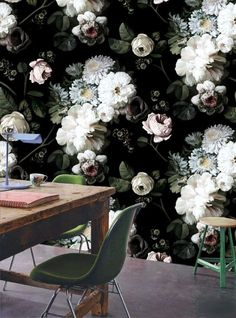 Lovely flowery wallpaper with black background.   Wallpaper Ideas | Eclectic Decor