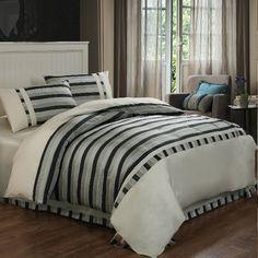 Elegant Gray Stripes Patterns Mullberry Silk 4 Piece Duvet Cover Set
