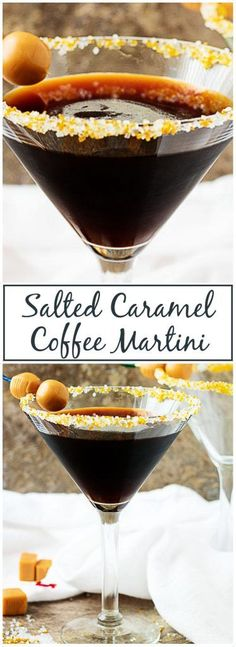 A Salted Caramel Coffee Martini is made with smooth gin, coffee liqueur, and sweet salted caramel syrup. It's simple to make and even easier to drink. #martini #alcoholicdrink #coffeeliqueur #saltedcaramel via @berlyskitchen