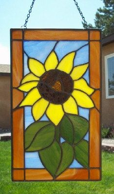 Big Yellow Sunflower Stained Glass Panel by SunflowerGlassworks, $72.00
