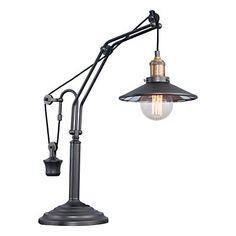 Lampe de table Newz anthracite et coloris doré  1 x E27 40W  55 x 23 cm