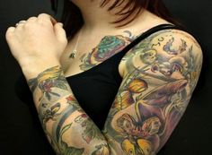 floral tattoo sleeve woman - Google Search