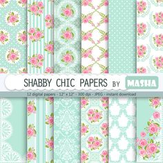 """Shabby chic digital paper: """"SHABBY CHIC PAPERS"""" with rose pattern, floral scrapbook background, blue patterns, damask for invitations"""