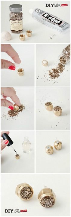 Dadi metallici e glitter: ecco gli ingredienti per un paio di #orecchini #handmade e scintillanti!