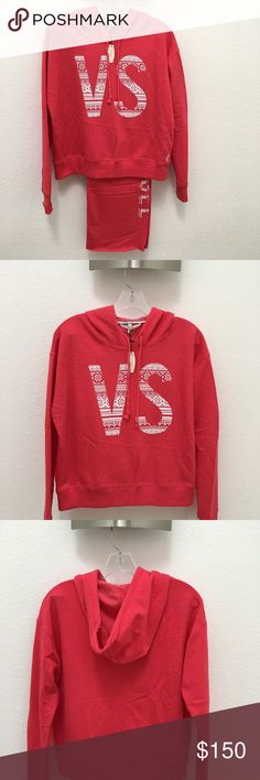 Victoria Secret Set. Hoodie and Pants Victoria Secret VS Hoodie and Pants. New with Tags. Pink in color with VS logo hoodie. Very comfortable!  Victoria Secret ANGEL Boyfriend Sweatpants Pants. Relaxed Fit. Pink in color with white Angel logo. Printed ANGEL logo at left leg. 60% Cotton, 40% Polyester. Boyfriend Pants Model. Rough cut bottom hen can be cut to length. Inseam 34 inches. Victoria's Secret Other