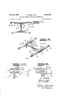 Eames aluminum group, original United States Patent Office page with drawings