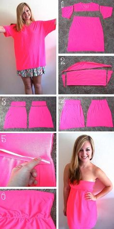 DIY Clothes DIY Refashion: Neon Tshirt Reconstruction …could be a swimsuit cover-up. perfect for when we go camping