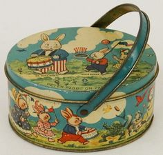 Vintage 1920's Tindeco Tin Deco Peter Rabbit Easter Parade Handled Basket Box