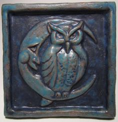 Ceramic Art Tile, Night Owl - Deep Turquoise , 4 x 4 Handmade Ceramic Tile