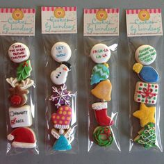 Mini Cookies for Gifts Christmas Cookies Packaging, Christmas Cookies Gift, Cookie Packaging, Christmas Sweets, Christmas Minis, Christmas Baking, Christmas Recipes, Mini Cookies, Fancy Cookies