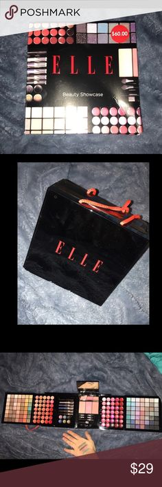 ELLE beauty showcase (eyeshadow, blush, lipgloss) - 98 eyeshadows - 3 blush - 45 lipglosses - 25 lipbalms - 6 eye creams - 1 mascara - 5 eyeliner pencils - nicely pigmented eyeshadows, never used (only swatched) comes with original box, only ripped a little but because i opened it as a xmas gift! perfect condition and retails for $60 ELLE Makeup Eyeshadow