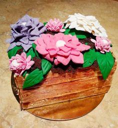 Tort urodzinowy - kwiaty w doniczce
