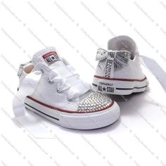 :)) Swarovski or Diamante Crystal Kids Lo Top Converse In White