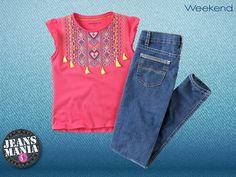 ¡Jeans + bordados étnicos = denim day de diversión! Encuentra la combinación perfecta para tu pequeña en nuestra #Jeansmanía.