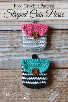 FREE Pattern: Crochet Striped Coin Purse | Make this cute little pouch to hold all your loose change. Fits easily in your purse or hangs on your key ring!