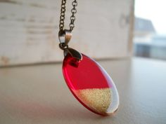 Red resin oval pendant resin jewelry antique brass by LightPurple