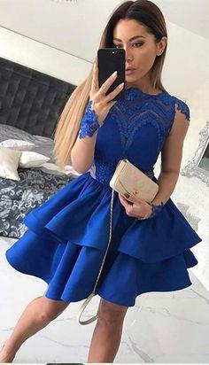 A-Line Homecoming Dresses,Bateau Prom Dresses,Long Sleeves Homecoming Dress,Royal Blue Homecoming Dresses.Short Prom Dresses with Appliques,Homecoming Dress,VT42