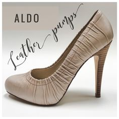 "{ALDO} Nude Ruched Leather Pumps BRAND: ALDO ITEM: Nude Ruched Leather Pumps FEATURES: Leather Upper, Lightly Padded Insole, 1"" Hidden Platform, 4.5"" Stacked Heel SIZE: 37 CONDITION: EUC {no box}  ALL ITEMS SHIP FROM SMOKE FREE HOME! NO Trades. NO Holds. NO PayPal. NO Lowball Offers. Offer Button Only. ALDO Shoes Heels"