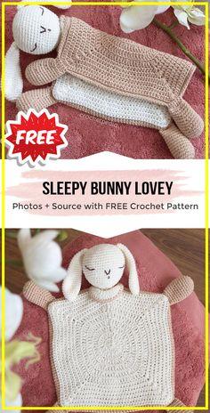 crochet Sleepy Bunny Lovey Blanket free pattern - easy crochet blanket pattern for beginners Source by shareapattern Crochet Security Blanket, Easy Crochet Blanket, Baby Afghan Crochet, Crochet Blanket Patterns, Bunny Blanket, Lovey Blanket, Crochet Baby Toys, Crochet Bunny, Crochet Rabbit Free Pattern