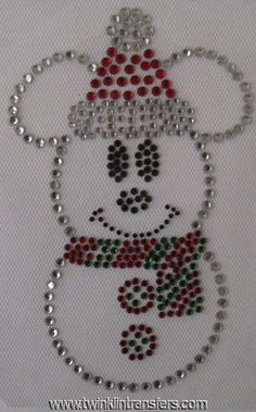 Mickey Snowman Rhinestone Iron On Transfer
