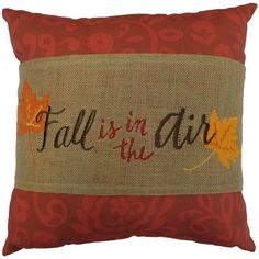 Harvest ''Fall Is In The Air'' Leaves Band Throw Pillow (Red) ($17) ❤ liked on Polyvore featuring home, home decor, throw pillows, autumn, pillows, red, fall home decor, red accent pillows, autumn throw pillows and red throw pillows