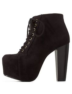 Lace-Up Platform Chunky Heel Booties: Charlotte Russe Bootie Boots, Shoe Boots, Ankle Boots, Combat Boots, Chunky Boots, Chunky Heels, Sock Shoes, Cute Shoes, Platform High Heels