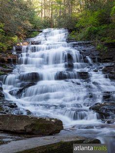 Hike a short, kid-friendly trail to the stunning Minnehaha Falls waterfall in North Georgia