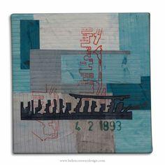 Brunswick Dock by Helen Conway- Liverpool Overhead Railway Series - mixed media 30 cm x 30 cm