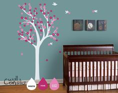 "Nursery Tree Wall Decal Wall Sticker - Tree Wall Decal - Tree Decals - Large: approx 75"" x 38"". $69.00, via Etsy."
