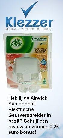 Heb jij de Airwick Symphonia Elektrische Geurverspreider in bezit? Verdien 0,25 euro bonus door het schrijven van een review over de Airwick Symphonia Elektrische Geurverspreider!  Daarnaast ontvang je als nieuwe Klezzer gebruiker 1 euro bonus!