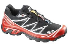 57d10c1509cf Salomon Mens SLab XT 6 Softground Shoes Black Red White 5 Spare Quicklace  Bundle
