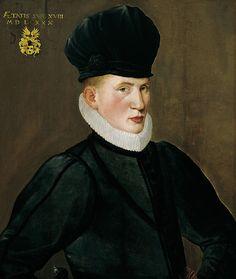 Portrait of 18 year old Jan van Eversdyck in 1580. By Nicolas Neufchatel (1527-1590).