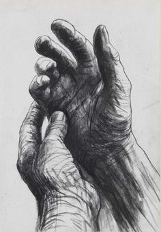 Henry Moore - The Artists Hands (verso), circa 1974
