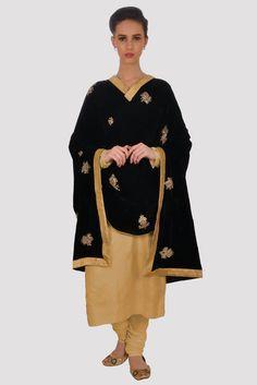 Hand Embroidered Zardozi Pure Silk Velvet Black Dupatta