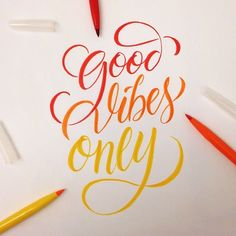 """""""Good Vibes Only""""--hand lettering Brush Lettering Quotes, Calligraphy Quotes, Types Of Lettering, Calligraphy Letters, Typography Quotes, Typography Letters, Modern Calligraphy, Lettering Tutorial, Creative Lettering"""